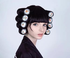 black hair, blue eyes, and cyber image