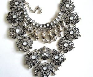 boho, vintage necklace, and silver tone image