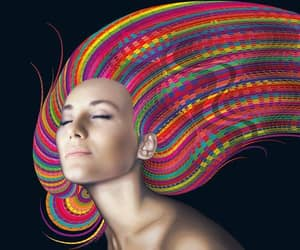psychedelic mess, funky photoshop art, and rainbow psychedelic hair image