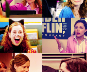 jenna fischer, pam beesly, and screencap image
