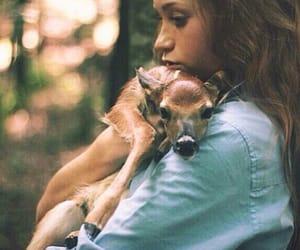 girl, animal, and deer image