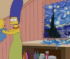 blue, the starry night, and Maggie image