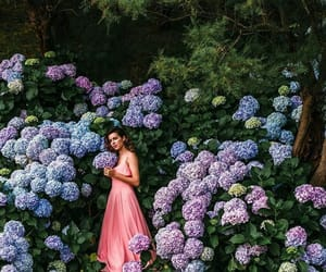 flowers, green, and girl image
