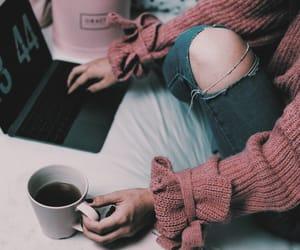 coffee, laptop, and sweater image