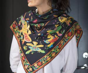 etsy, red yellow green, and pure silk scarf image