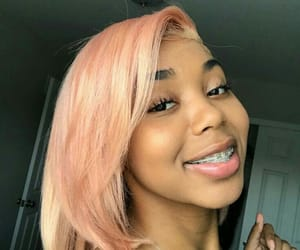 braces, hair, and pink image