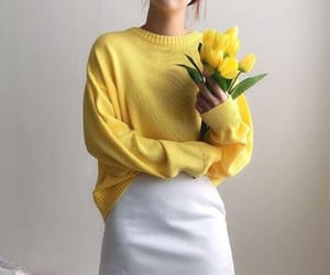 yellow, white, and fashion image