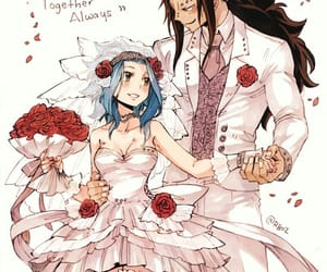 anime, couple, and roses image