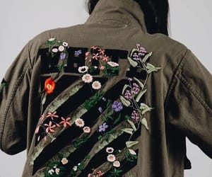 flower, khaki, and military jacket image