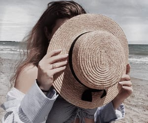 beach, cloudy, and hat image