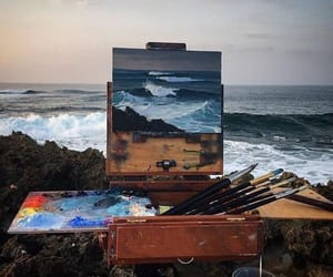 art, ocean, and painting image