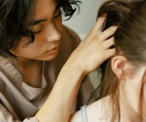 couple, fingers, and hair image