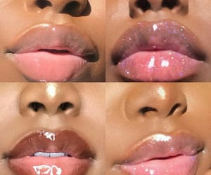 black, glossy, and lips image