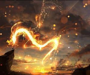 fantasy, fire, and dragón image