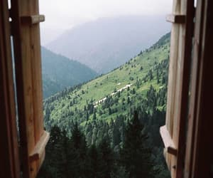 cabin, forest, and trees image