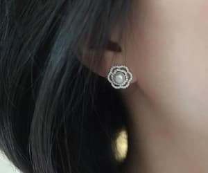earrings, flower, and Pave image