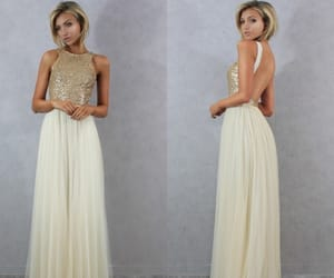 prom dress, prom gown, and backless prom dress image