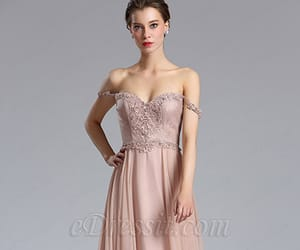 long dress, homecoming dress, and off the shoulder dress image