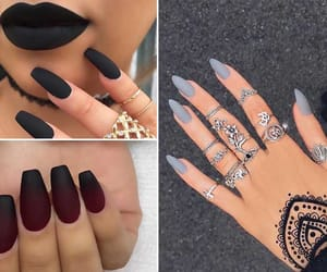 black, nails, and blue image