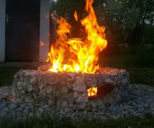 chilling, fire, and forest image