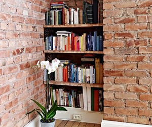 books, brick wall, and interior image