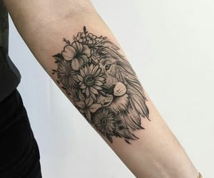 tattoo, flowers, and lion image