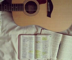 book, guitar, and photography image