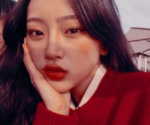 ulzzang, girl, and red image