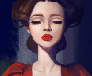drawing, red dress, and woman image