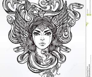 girl, snake, and tatto image