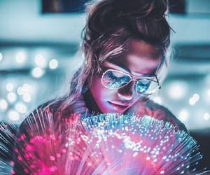 light, girl, and glasses image