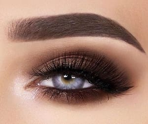blue eyes, lashes, and make up image