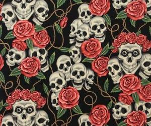 Halloween, rosses, and skulls image