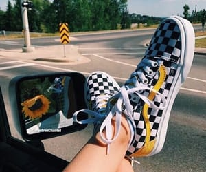 car, mirror, and sunflower image