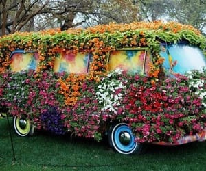 flowers, volkswagen, and hippy image