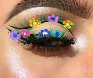 belleza, flores, and maquillaje image