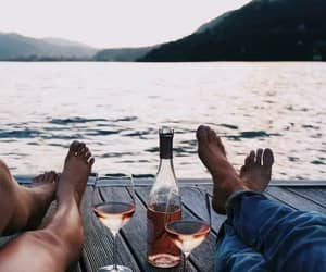 couple, summer, and wine image
