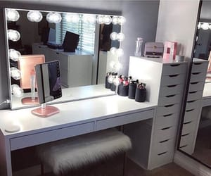 beauty, desk, and mirror image