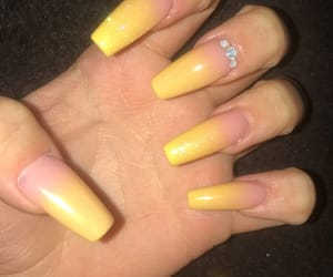nails, yellow nails, and gel nails image