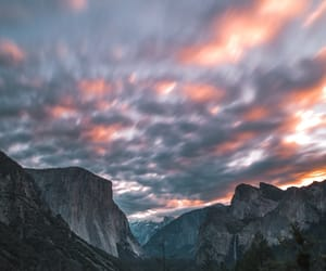 clouds, forest, and mountains image