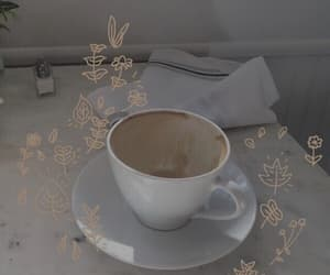 cup, flowers, and gold image