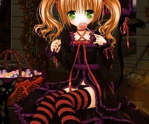 anime girl, black cat, and Halloween image