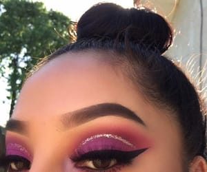 eyebrows, purple, and eyeliner image