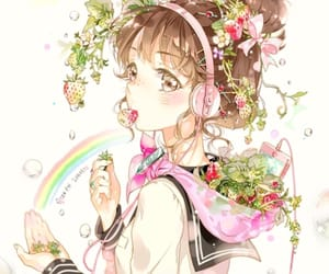 anime girl, rainbow, and headphones image