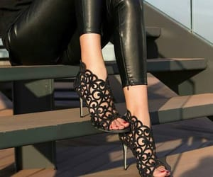black heels, fashion, and leather pants image