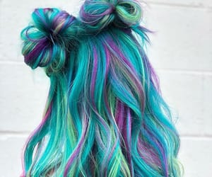 blue hair, hairstyle, and colorful image