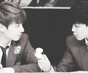 eyes contact, boy in luv, and jikook image