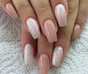 girl, glitter, and long nails image