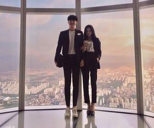 city, couple, and girl image