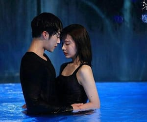 couple, red velvet, and swimming image